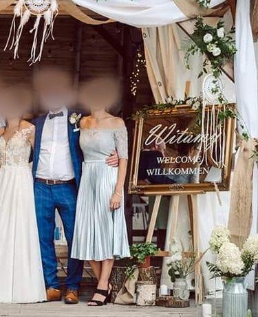 Sukienka S wesele ślub suknia plisowana szara