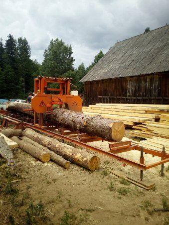 Trak taśmowy mobilny, usługi przecierania drewna