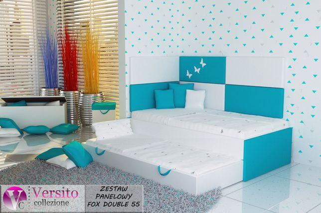 Łóżko piętrowe-niskie,2 materace oraz panele tapicerowane w cenie