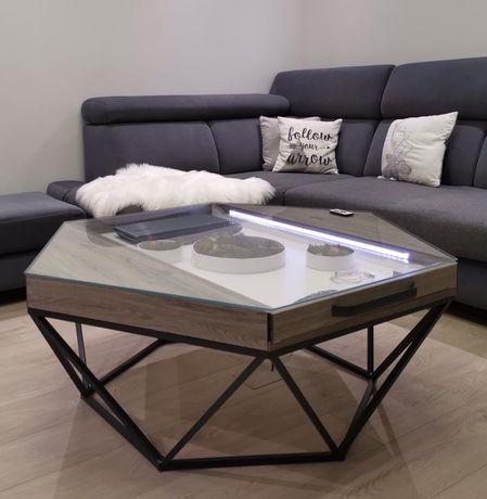 Stolik kawowy ława industrialny styl loft szklany blat