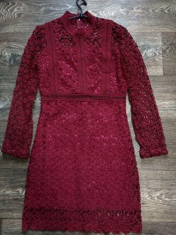 Бордовое платье кружево на праздник обмен