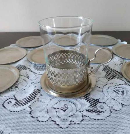Koszyczki do herbaty + metalowe podstawki (komplet 12 sztuk)