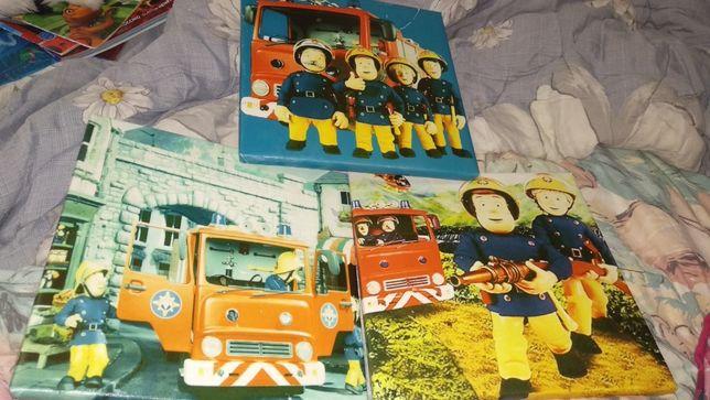 ДЕКОР картины 3шт принт пожарные интерьер можно в детскую 24 на 24