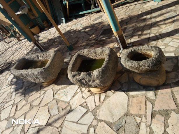 Conjunto De 3 Pias Em Pedra Antigas