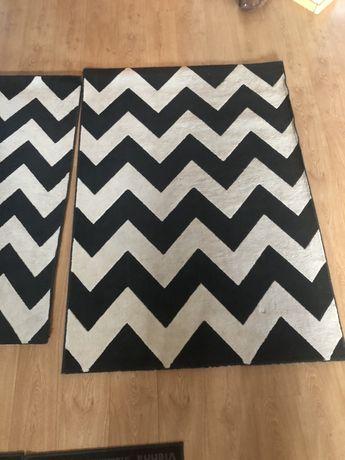 Dwa dywany dywan komplet biało czarny biały paski zebra 80x150 120x170