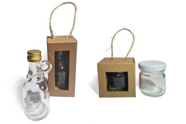 Pudełeczko + mini butelka lub pudełko + mini słoiczek w stylu eko