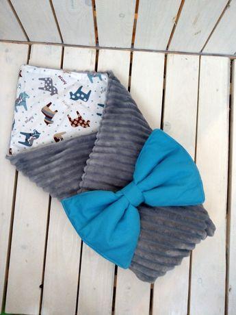 Плюшевый серый конверт одеялко на выписку, в коляску, в кроватку