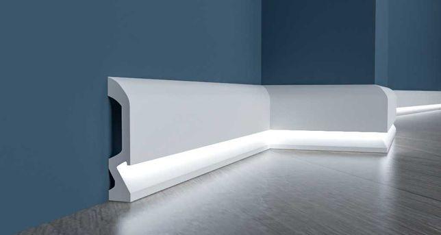 Ударопрочный плинтус с LED./ЛЭД подсветкой  из дюрополимера. Польша