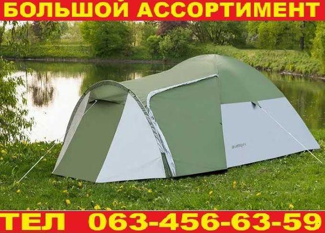 Палатка намет 3-х местная двухслойная с табором. Зеленая. Польша