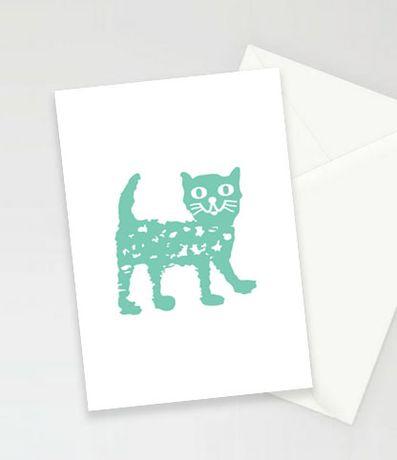 kot kartki, kartki z kotem, fajne zaproszenia, podziękowania dla gości