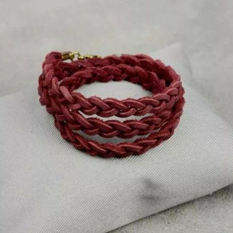 Жіночий шкіряний браслет тонка косинка бордовий