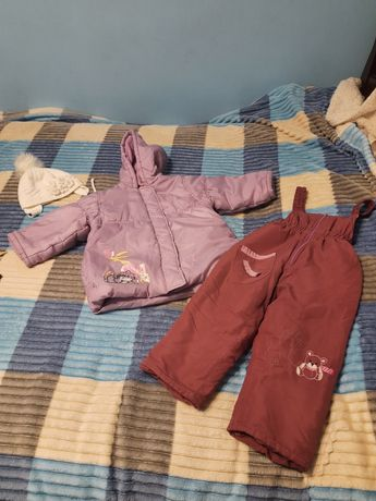 Зимові куртка + штани-комбінезон для дівчинки на 2 рочки