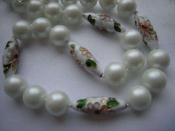 Korale naszyjnik 44cm biała perła matowa 12mm +cloisonne