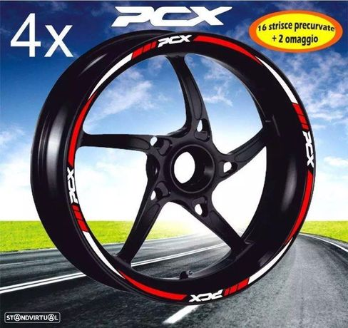 fitas para Jantes pcx 125 vermelho e Branco autocolante para as 2 rodas