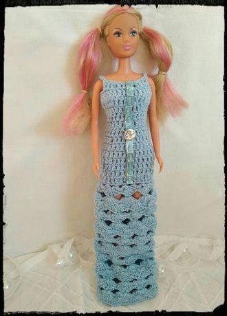 Вязаные платья в голубеньких цветах для Барби. Ручная работа!