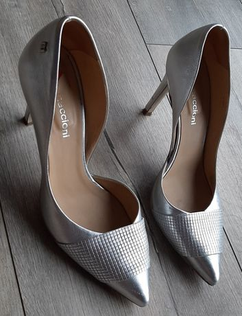 Buty na ślub ślubne wesele srebrne skóra naturalna 38 srebrne