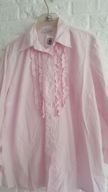 Bluzka koszula w różową kratkę 46