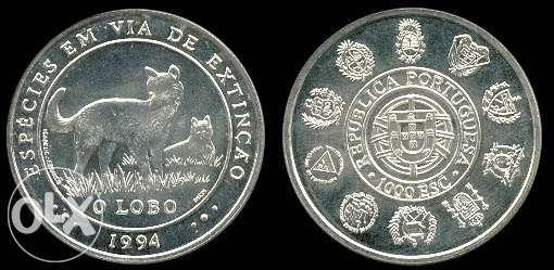 O Lobo - Moeda de mil escudos em prata