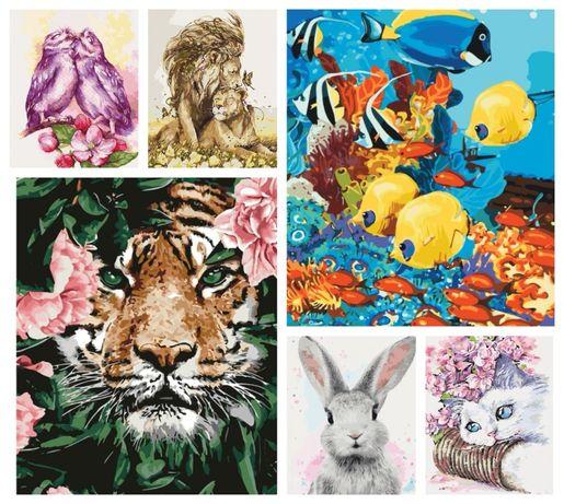 Картины по номерам животные лев тигр рыбки зайчик кот котята единорог