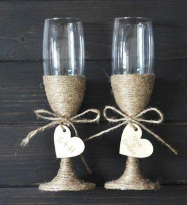 Kieliszki do szampana i wódki dla Młodej Pary styl rustykalny