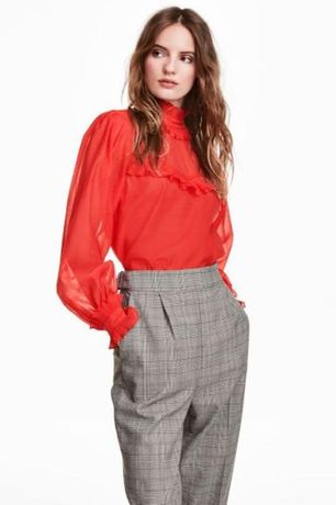 Креповая блуза с оборками h&m/ l