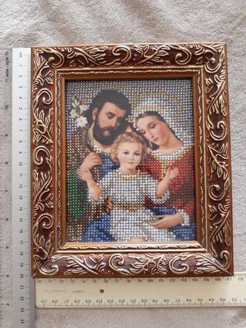 """Икона бисером """"Святое семейство """""""