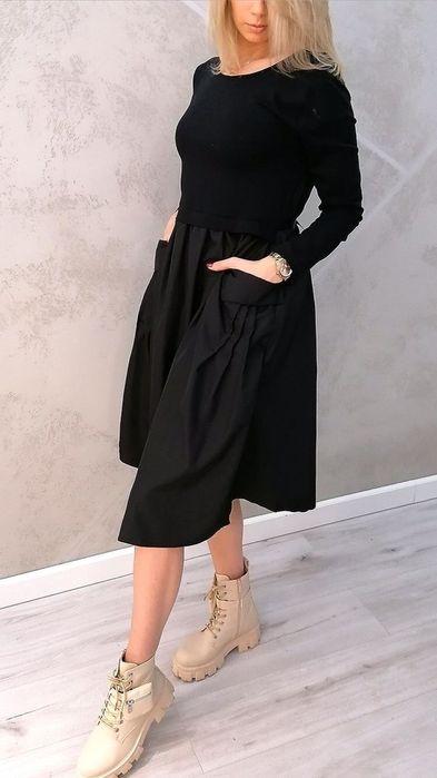 Sukienka z taftą czarna midi Grójec - image 1