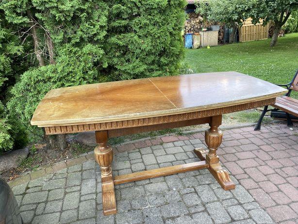 Antyk - drewniana ława/stół z ozdobnymi nogami