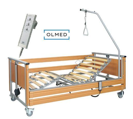 Łóżko rehabilitacyjne szpitalne z materacem i wysięgnikiem NOWE +pilot