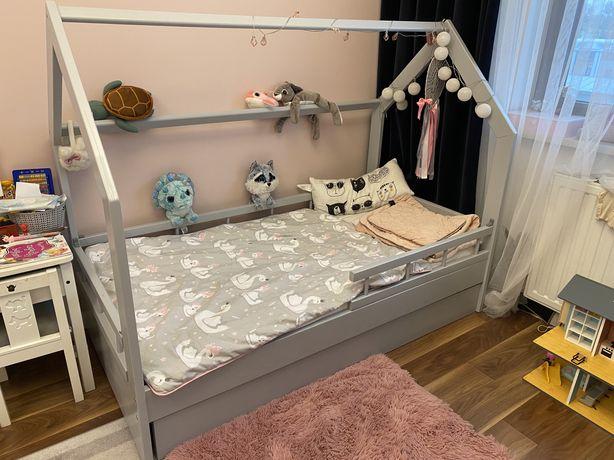 Łóżko domek szare 160x80