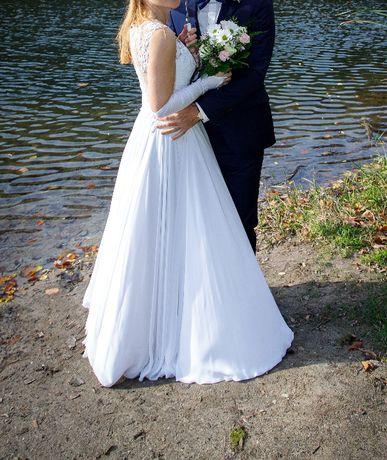 Romantyczna suknia ślubna, ze zwiewnego muślinu!!!