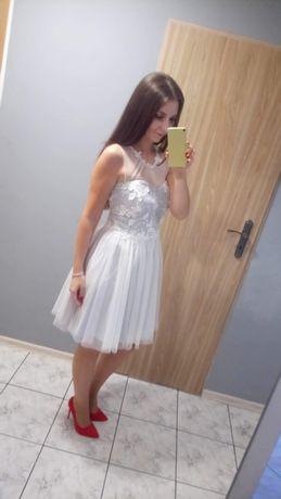 Sukienka tiulowa szara koronka studniówka