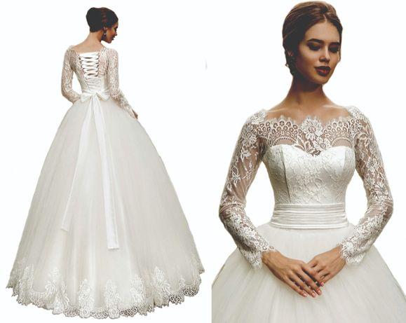 suknia ślubna koronka wiązanie rękaw 40 L, 44 XXL