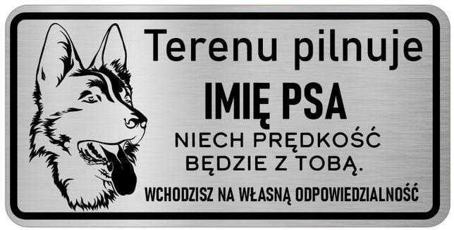 Tabliczka nierdzewna uwaga pies - Owczarek Niemiecki