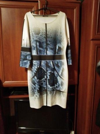 Платье, плотный габардин, красивый принт сидит по фигуре