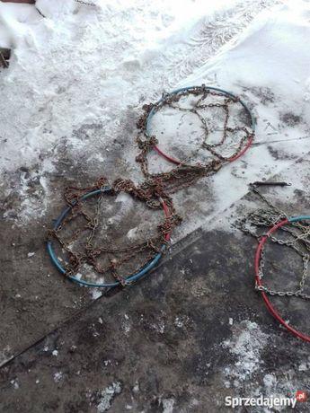 Łańcuchy śniegowe rombowe nowe i używane rozmiar 14, 2 sztuki