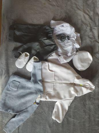 Elegancki zestaw ubranko do chrztu chłopięce plus sweterek Zara 68