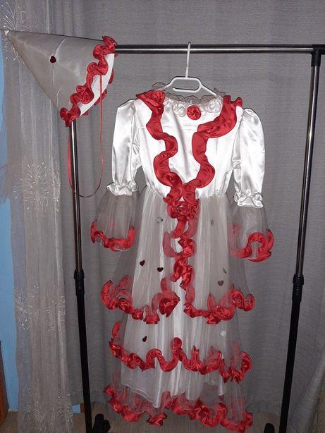 Suknia balowa dla dziewczynki 10-14 lat biało czerwona zczapką na140cm