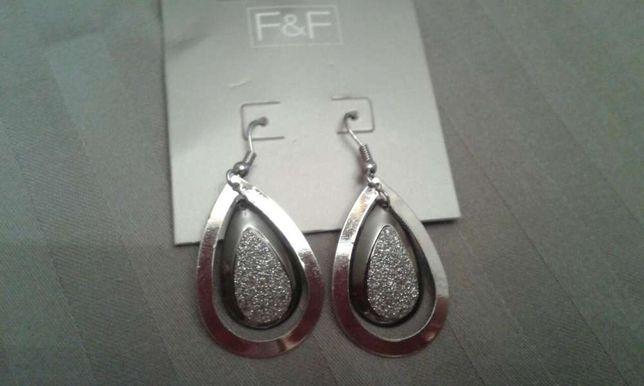 Kolczyki czarno-srebrne z kryształkami