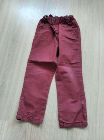 Bordowe materiałowe spodnie 98