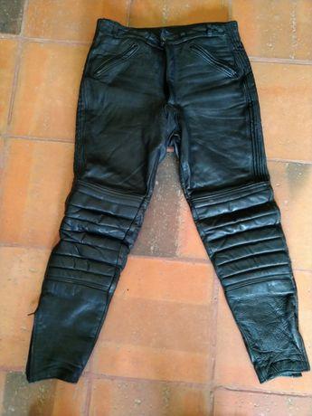 Calças Leathermaster em pele para mota