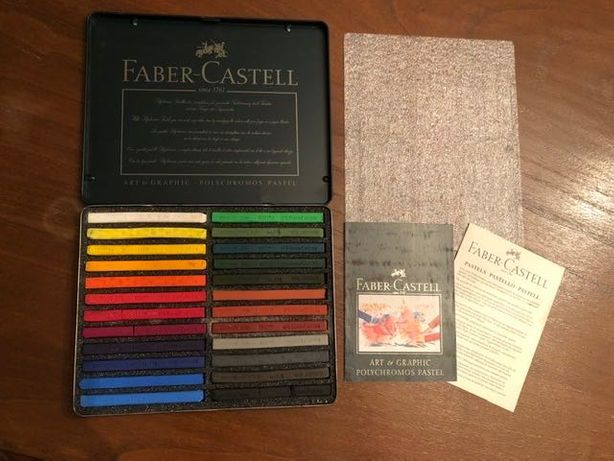 Estojo de Pastéis seco polychromos, 24 Gizes Faber-Castell, pouco uso