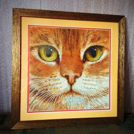 """Шикарнейший кот. Украсит любую стену. Картина вышита бисером """"Базальт"""""""