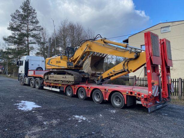 Transport maszyn budowlanych podczołgówa niskopodwozie