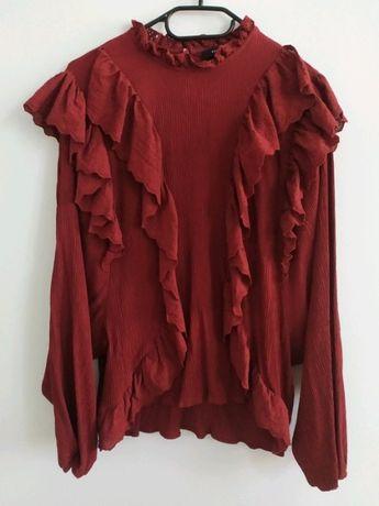 Bluza bluzka bordowa z koronką i falbanami Reserved r. 42