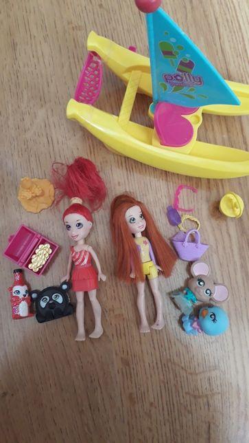 Polly pocket lalki i bananowa łódź
