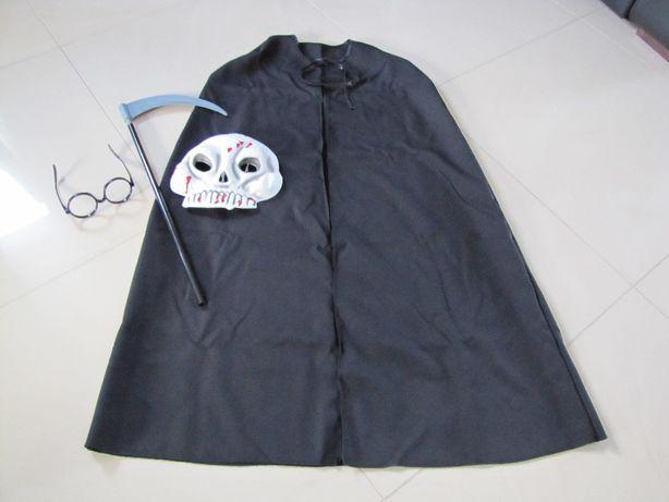 strój halloween karnawałowy maska, peleryna, kosa, okulary rozm 128