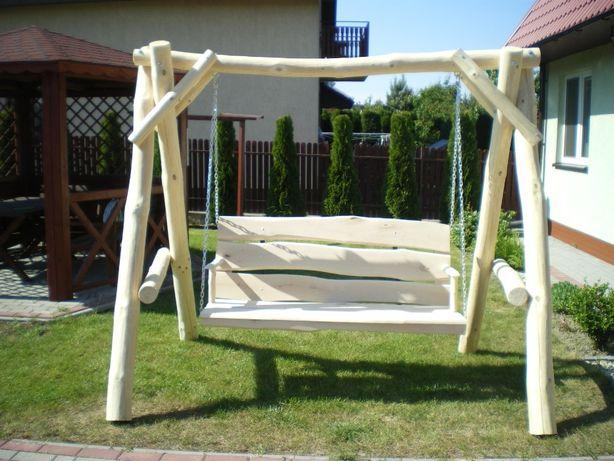huśtawka drewniana ogrodowa 3 osobowa