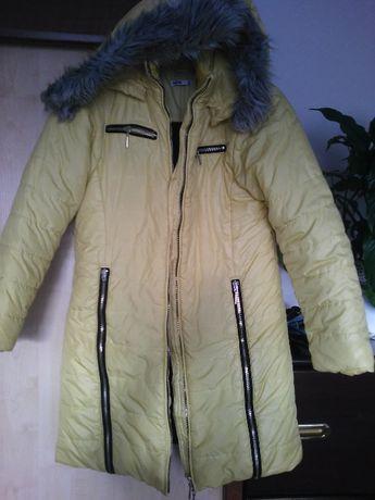 kurtka polska żółta/ płaszcz- zimowy z ozdobnymi zamkami 152-164cm