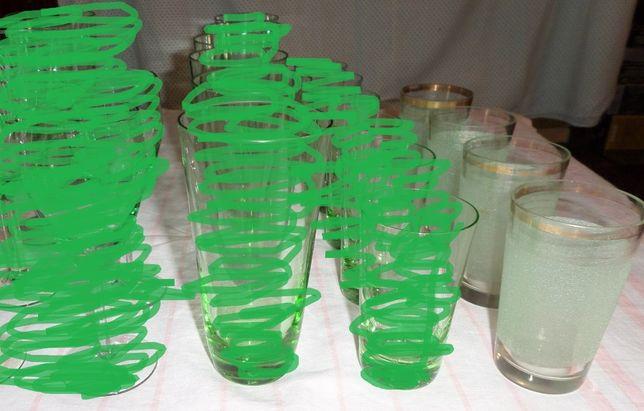 Стаканы, рюмки 4 шт. Цветное зеленое стекло с напылением. СССР. Посуда